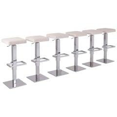 Maison Jansen Chromed Steel Adjustable Bar Stools with White Velvet Seating
