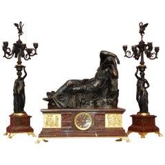 L.V.E. Robert Large Bronze Clock Represents Ariane, Barbedienne