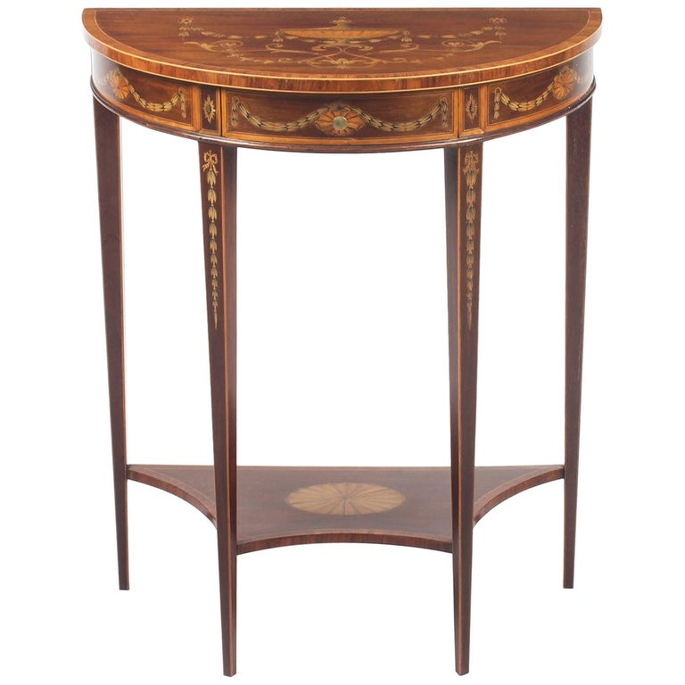 Antique Regency Revival Marquetry Console Table, 19th Century For Sale