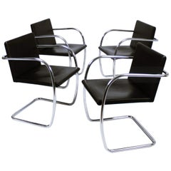 Up to Four Rare Vintage Thin Pad Tubular Brno Chair by Ludwig Mies van der Rohe