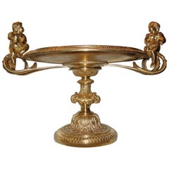 Large Centrepiece Gilt Bronze Serving Tray with Cupids, 19th Century, France