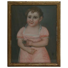 Early 19th Century French Pastel Portrait of a Young Girl