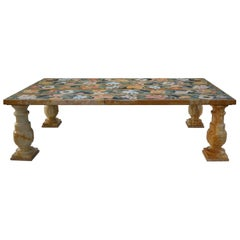 Rosa Siena Yellow Marble Coffee Table Scagliola Art Inlay Decoration Marble Legs