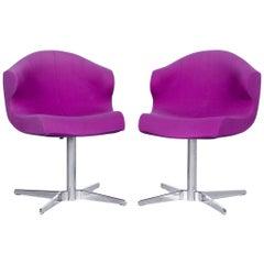 Ligne Roset Alster Designer Fabric Armchair Set Purple One-Seat Chair