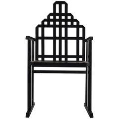 Black Painted Art Deco Style Armchair