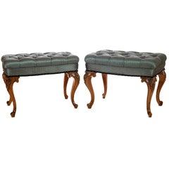 Pair of 19th Century Walnut Footstools by Bertram of London