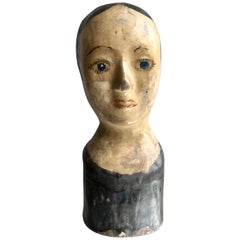 Antique French Marotte Head Wig Stand