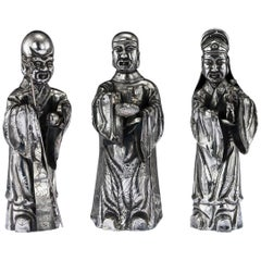 19th Century Chinese Solid Silver Set of Three Immortal Figures, circa 1880