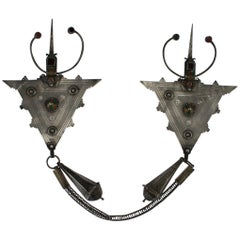 Antique 20th Century Moroccan Silver and Enamel Pair of Fibulae, circa 1900