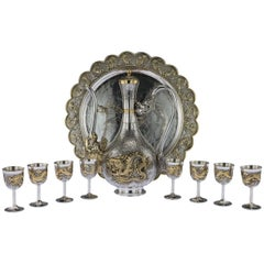 Exceptional 20th Century Chinese Solid Silver Gilt Sake Set on Tray, circa 1960