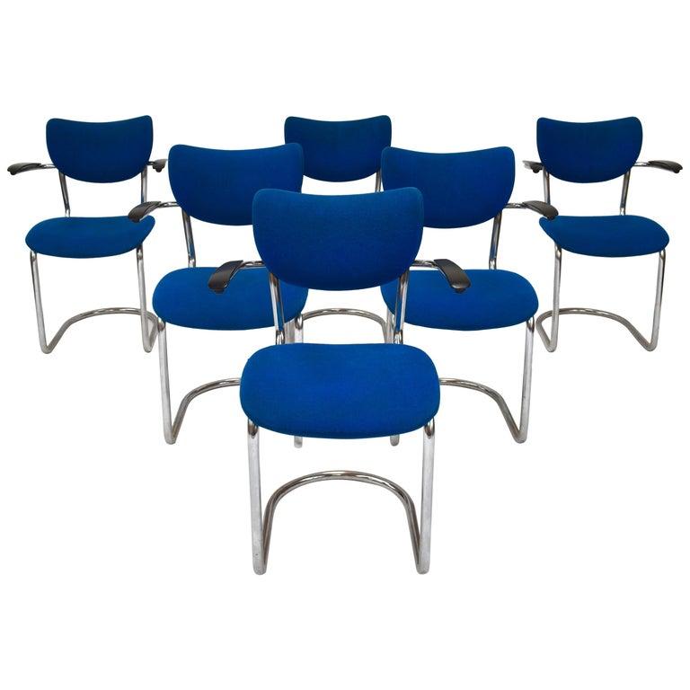 Set of Six De Wit 3011 Armchairs