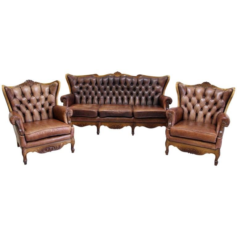 Chesterfield Garnitur Antik Sofa Sessel Leder Couch 3 1 1