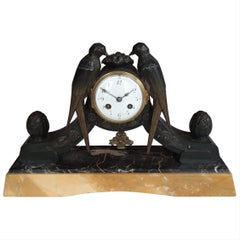 Art Deco Clock, Marble and Spelter