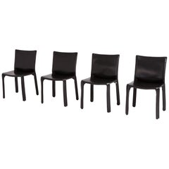 Mario Bellini Cab Chairs in Black Leather for Cassina