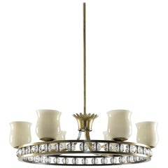Glass and Brass Chandelier in the Manner of Fontana Arte