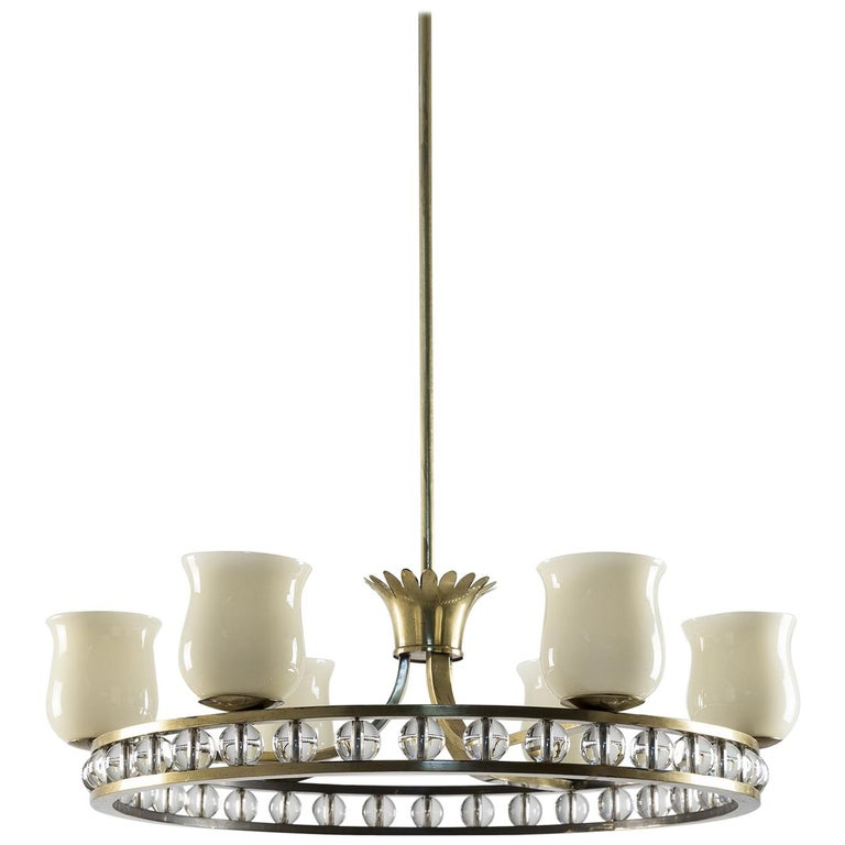 Glass and Brass Chandelier in the Manner of Fontana Arte For Sale