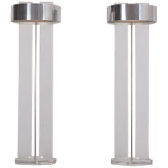 Perspex Postmodern floor lamps with Chrome Shade, Set of Two