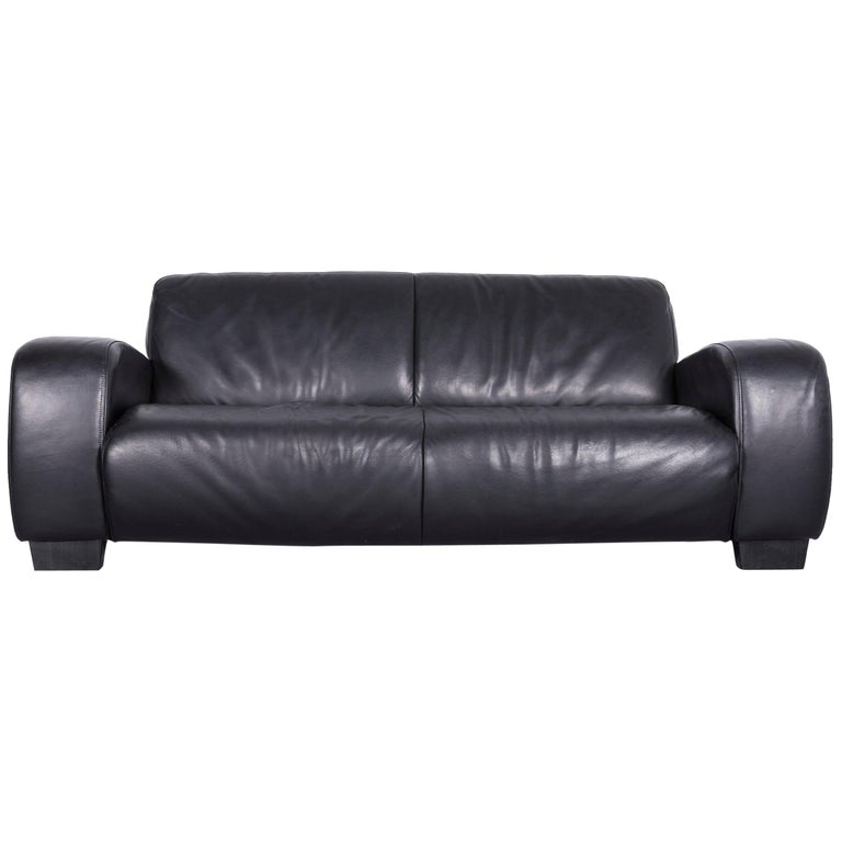 Koinor Designer Leather Sofa Black Two-Seat Couch