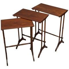Regency Nest of Three Tables in Figured Mahogany
