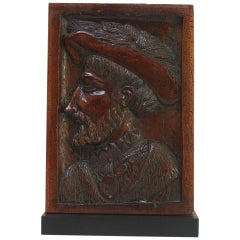 18th Century French Carved Wooden Panel with Portrait