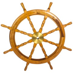 Antique Large Brass Set Eight Spoke Mahogany Ships Wheel, 19th Century