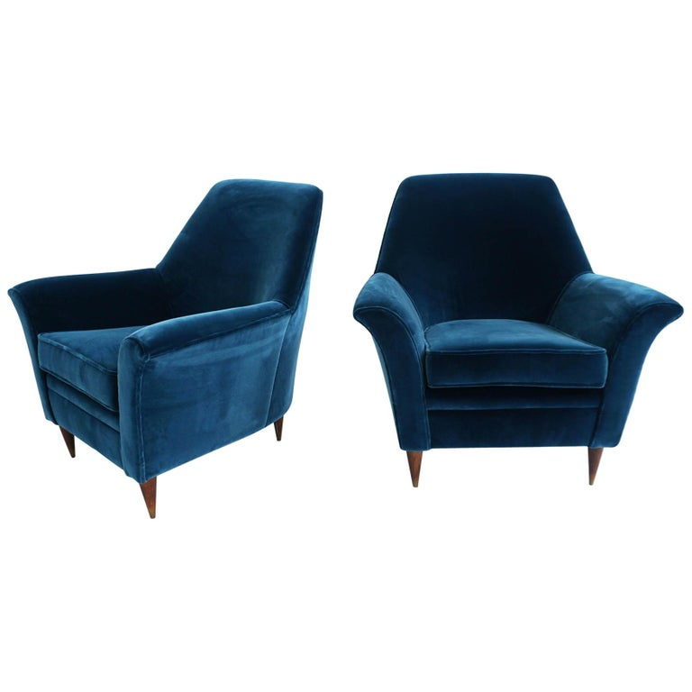 Ico Parisi Lounge Chairs in Blue Lagoon Velvet For Sale