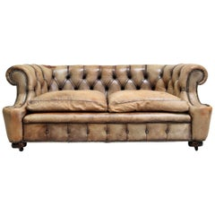 Chesterfield Garnitur Antik Sofa Club Leder Couch 2er Vintage
