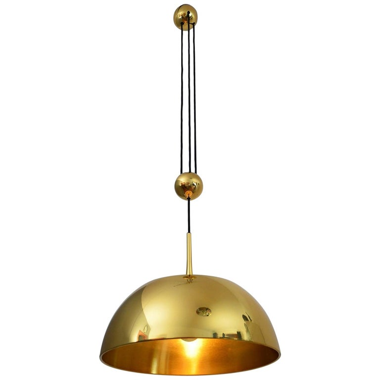 German Brass Pendant CEOS with Counter Weight by Florian Schulz, 1970s
