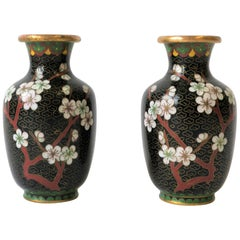 Black White and Ox Blood Cloisonne and Brass Vases