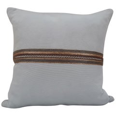 Handcrafted Embroidered Chain and Metal Sequins Pillow Central Horizontal Stripe
