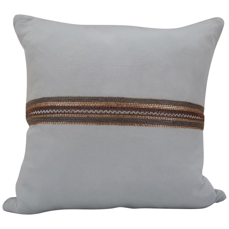 Handcrafted Embroidered Chain and Metal Sequins Pillow Central Horizontal Stripe For Sale