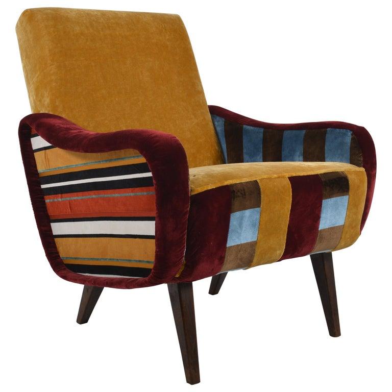 Belgium, 1950s Velvet Armchair