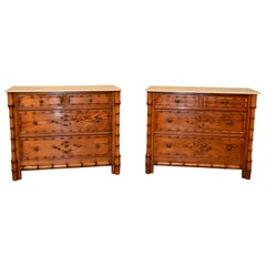Pair of 19th Century Faux Bamboo Chests