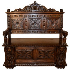 19th Century English Carved Bench