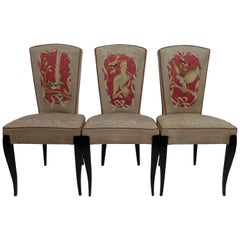 Set of Six French Art Deco Dining Chairs with Bird Scene Tapestry Upholstery