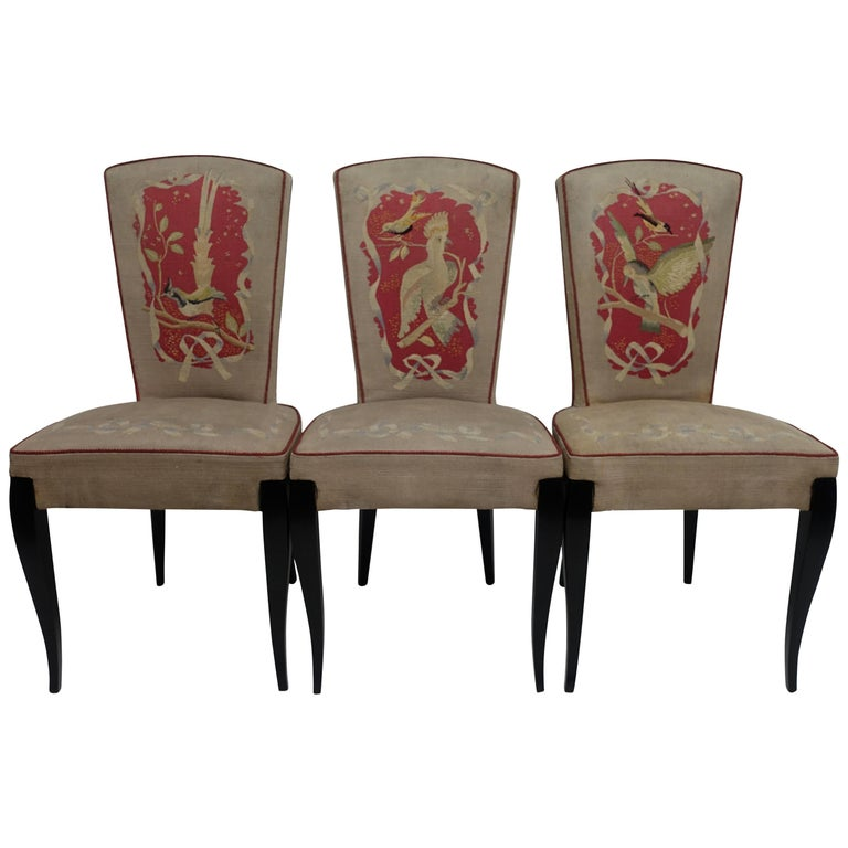 Set of Six French Art Deco Dining Chairs with Bird Scene Tapestry Upholstery For Sale
