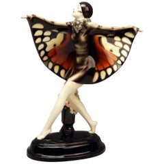 Goldscheider Vienna Lorenzl Dancing Butterfly Lady Captured Bird Nr. 5960, 1930s