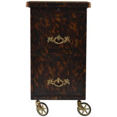 Metal Cabinet, Leather Top, Painted Faux Tortoiseshell, Belgium, 1940