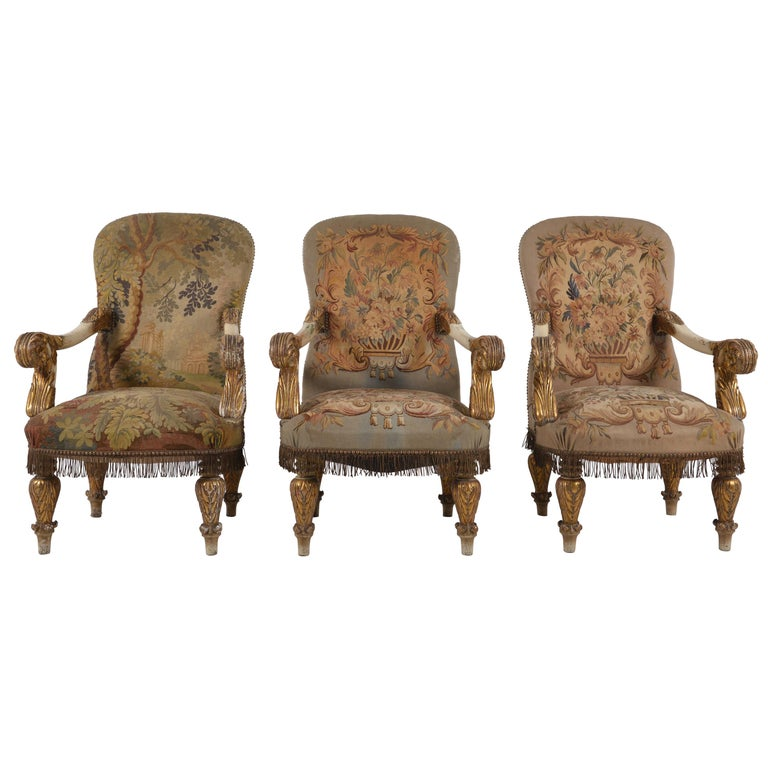 Set of Eight Napoleon III Armchairs, Giltwood Original Tapestry Upholstery