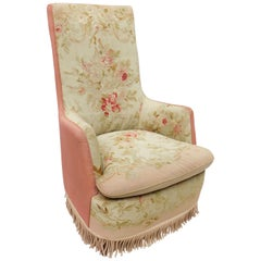 Antique Aubusson Tapestry Upholstered Armchair / Bergere with Roses and Celadon