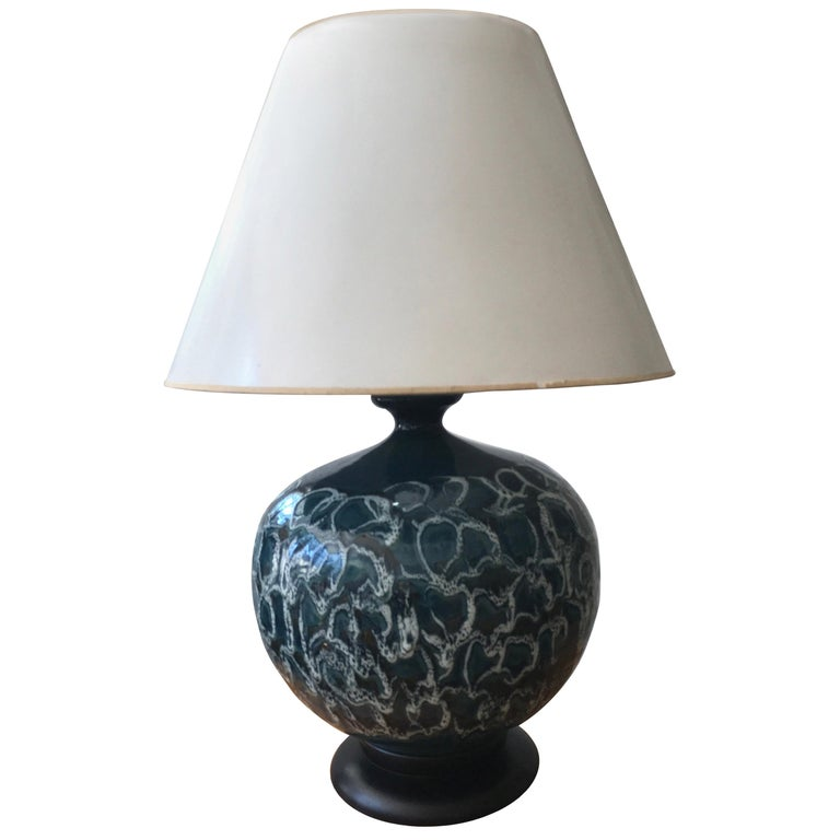 Monumental Drip Glaze Ceramic Gourd Shaped Lamp
