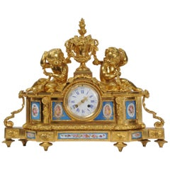 Large Ormolu and Sèvres Porcelain Antique French Clock, Wine Grapes Cherubs