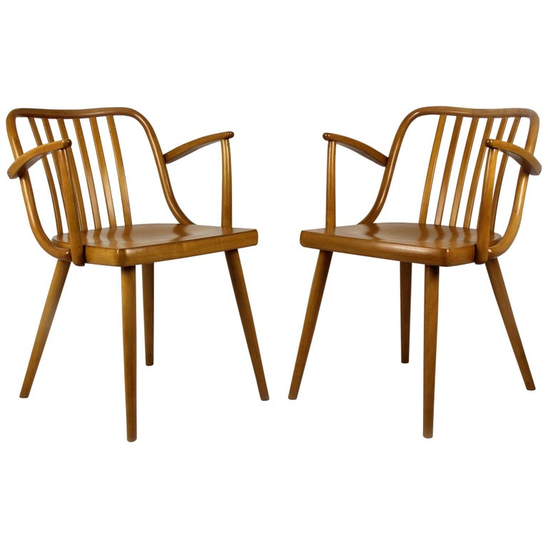 Czech Wooden Armchairs by Antonin Suman for Ton, 1960s, Set of Two