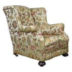 Antique Wingback Armchair, English, Victorian, Deep, Club Chair, circa 1900