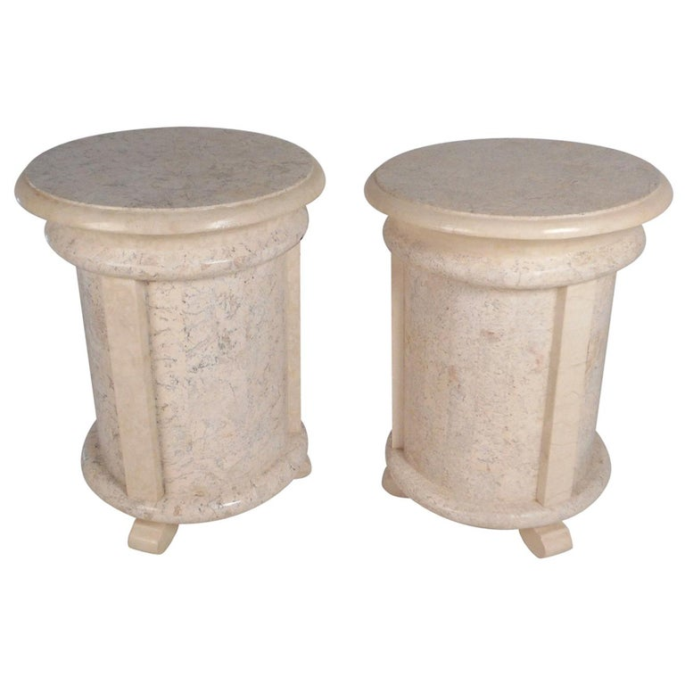 Pair of Midcentury Maitland Smith Style Cylindrical End Tables
