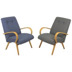 Midcentury Grey and Blue Lounge Chairs, 1960s, Set of Two