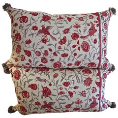 Pair of Red and Grey Birds and Flowers Linen Pillows, French, Early 20th Century