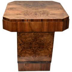 Art Deco Figured Walnut Table with Storage