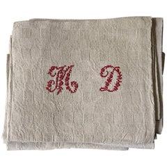 MD Monogrammed Set of 10 Linen Napkins French Vintage