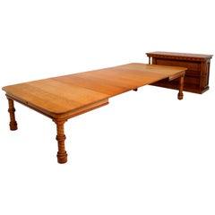 Antique Victorian Golden Oak Extending Dining Table and Leaf Holder
